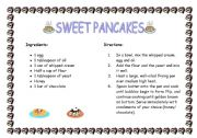English Worksheet: Recipe: sweet pancakes