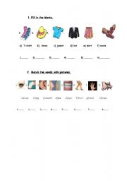 English Worksheet: body parts and clothes