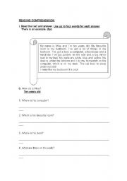 English Worksheets: Sheet on reading comprehension, grammar and vocabulary related to