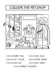 English Worksheets: COLOUR THE PET SHOP
