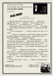 Printables Rosa Parks Worksheets english teaching worksheets rosa parks fill in the blanks with a this