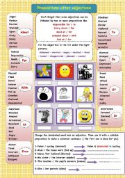 English Worksheet: prepositions after adjectives