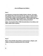 English Worksheets: Aztec Journal Response