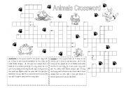English Worksheet: Animals Crossword