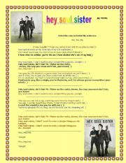 English Worksheet: HEY SOUL SISTER