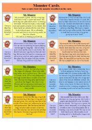 English Worksheet: My Monster cards.