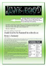 English Worksheet: JUNK FOOD  (4 pages)