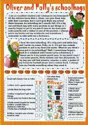 English Worksheets: oliver and polly�s schoolbags