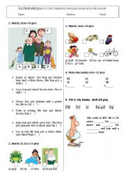 4th grade exam including toys, adjectives, describing people and numbers