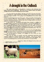 English Worksheets: A drought in the Outback  COMPREHENSION + Key