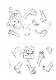 English Worksheet: Body Parts cloze and cut and paste