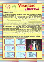 English Worksheets: Listening Comprehension �Volunteering & Happiness� KEY and LINK included
