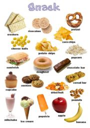 English Worksheet: Snack food poster