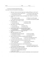 The Lady, or the Tiger? Test Worksheet - ESL worksheet by ...
