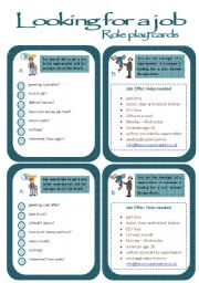 English Worksheet: Role play cards series: A job interview