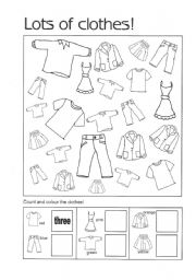 English Worksheet: Count and colour the clothes