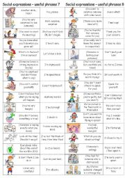English Worksheet: Social expressions - useful phrases 7 & 8
