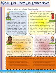 English Worksheets: What do they do everyday?
