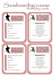 English Worksheet: Role play cards series: Booking a snowboarding tour