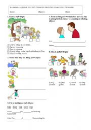 English Worksheet: 5th grade exam 2nd term