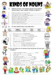 Exercises On Types Of Nouns 4 Pages Editable With Key Esl Worksheet By Vikral
