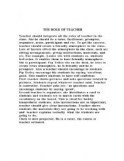 English Worksheets: the role of the teacher