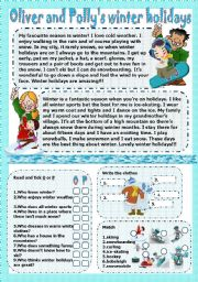 English Worksheet: oliver and polly�s winter holidays