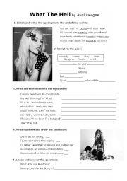 English Worksheets: Avril Lavigne�s
