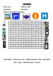 English worksheet: word search buildings