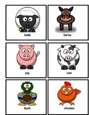 English Worksheets: Farm Animal Flashcards