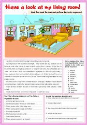 English Worksheet: Have a look at my living room!