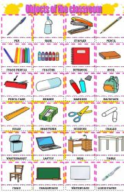 English Worksheet: Objects of the classroom