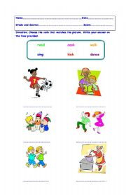 English worksheets: Verbs/ Action Words Grades One to Two