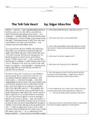 "tell tale heart worksheet 2 ""the tell-tale heart"" by edgar allan poe  pre-reading guide for ""tell-tale  heart""  (20 pts) after reading ""tell-tale heart"" by poe, answer the following."