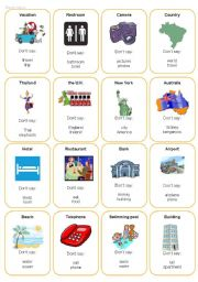 English Worksheet: Taboo Cards -Travel / Tourism