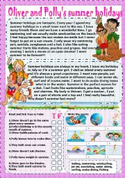 English Worksheet: oliver and polly�s summer holidays