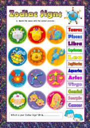 English Worksheet: Zodiac Signs