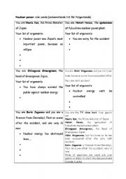 English worksheet: Nuclear Power / Accidents - Role Play