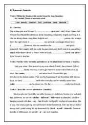 English Worksheet: Language part of end of term test n3 for 8th form