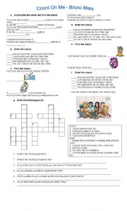 English Worksheet: COUNT ON ME (Bruno Mars)
