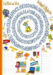 English Worksheet: SCHOOL OBJECTS