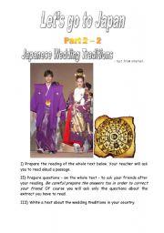 English Worksheet: Let�s go to Japan 2 - Part 2 : Japanese Wedding Traditons
