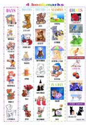 English Worksheet: 4 tender bookmarks on vocabulary (days, months, seasons and colors)
