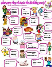 English Worksheet: what were they doing in the birthday party?
