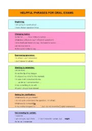 English Worksheet: Useful phrases for oral exams