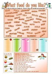 English Worksheet: What food do you like?