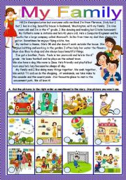 English Worksheet: My Family B/W and key included- Fully editable