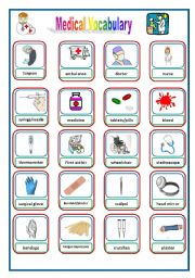 English Worksheets: Medical/ Health Pictionary-Flashcards