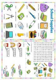English Worksheets: School supplies