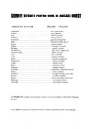 English Worksheets: AMERICAN BRITISH DIFFERENCES